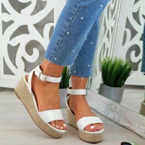 White Wedge Platform Sandals - Size 10